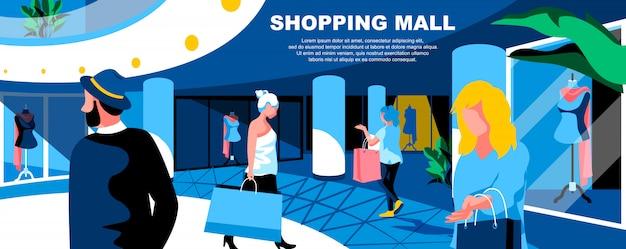 Shopping mall flat landing page template banner layout.