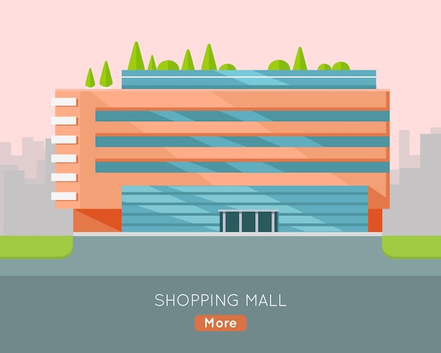 Shopping mall illustration in flat design.