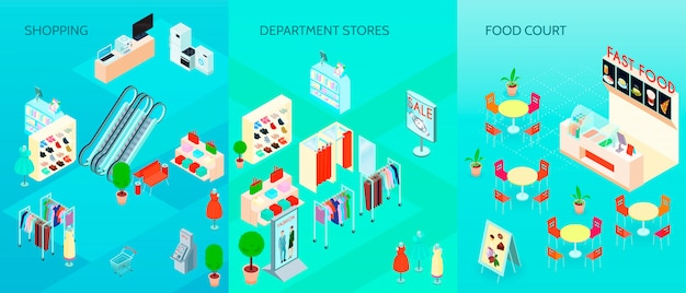 Shopping mall isometric banners set