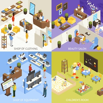 Shopping mall isometric design concept