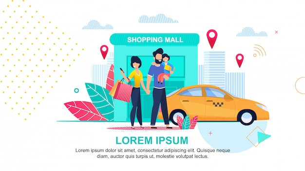 Shopping mall. online taxi service. streets city.