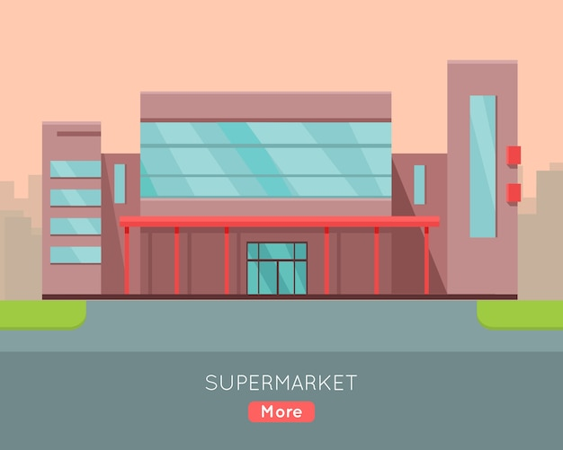 Shopping mall web template in flat design.