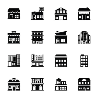 Shopping malls glyph vector icons