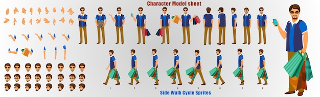 Shopping man character model sheet with walk cycle animation sequence