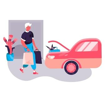 Концепция покупателя. покупатель мужчина несет покупки и загружает сумки в машину. покупатель покупает в магазине или супермаркете персонажа. векторная иллюстрация в плоском дизайне с деятельностью людей