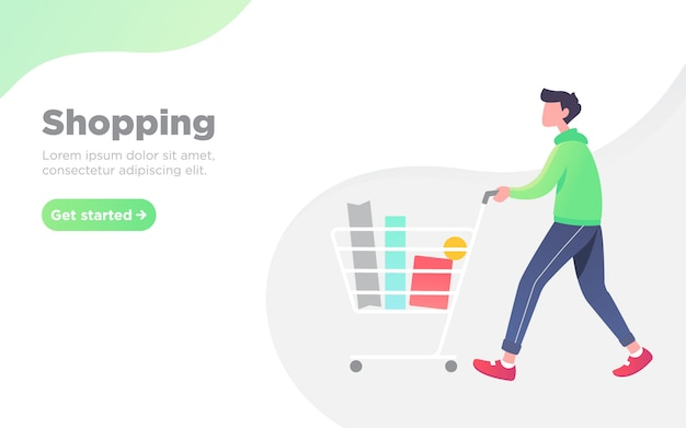 Shopping man landing page background illustration