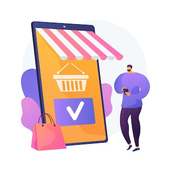 Shopping mobile app, online store service. smartphone application, internet purchase, making order. customer cartoon character. adding product to cart. vector isolated concept metaphor illustration.