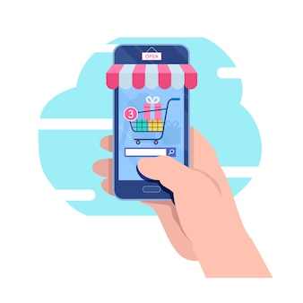 Shopping on mobile. online store.