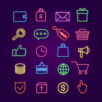 Shopping neon icons. e-commerce, trade colorful signs with glow effects. store cart, money, box and sale badge  lighting symbols on brick wall. neon glow light, commerce icons illustration