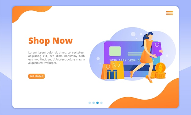 Shopping now landing page template