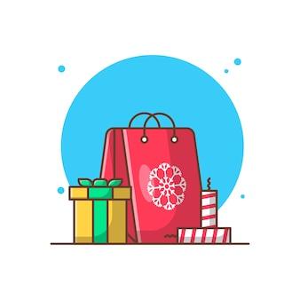 クリスマスの日のショッピングベクトルクリップアートイラスト。