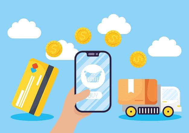 Покупки по технологии с помощью смартфона