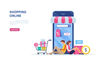 Shopping on mobile.