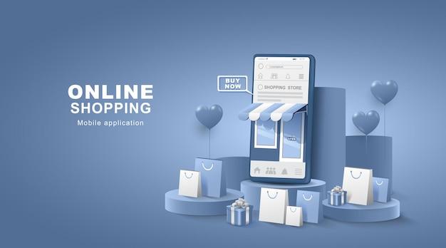 ソーシャルメディアでのショッピング。バッグとギフトボックス付きのスマートフォン。デジタルストアの配信。図