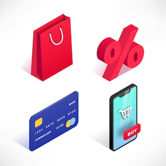 Shopping online 3d isometric icons set isolated on white background. digital marketing illustration. can use for web, apps, infographics
