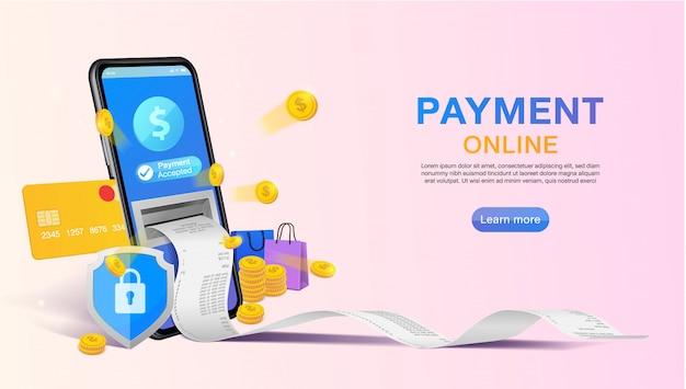 Покупки онлайн и онлайн-платежей на веб-сайте или мобильных приложений баннер концепции маркетинга и цифрового маркетинга.