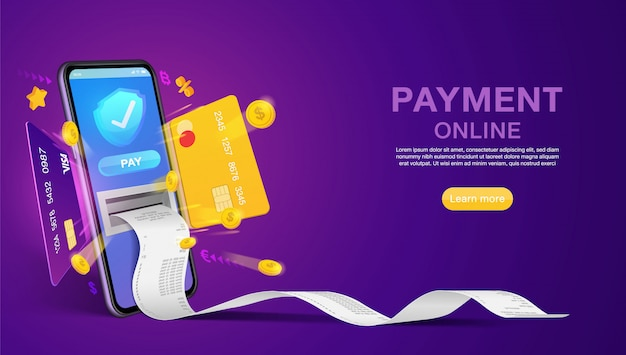 웹 사이트 또는 모바일 응용 프로그램 배너 개념 마케팅 및 디지털 마케팅에서 온라인 및 온라인 결제 쇼핑.