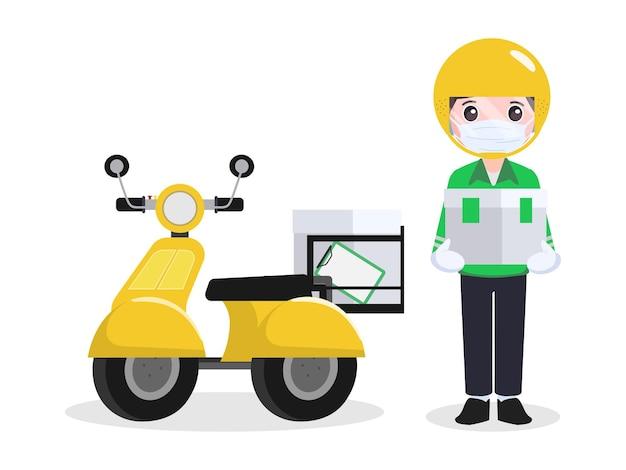 オンラインショッピングと配送マンサービス
