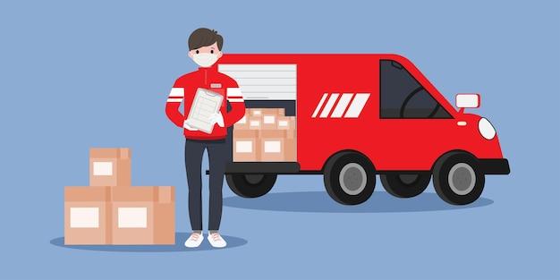オンラインショッピングと配送サービス。