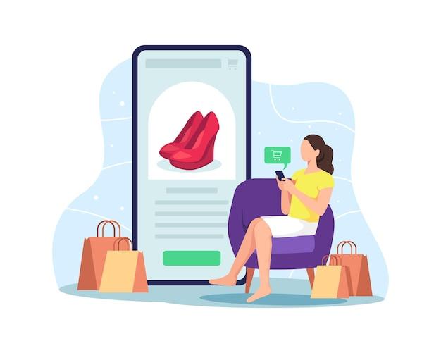 Покупки в интернете дома с помощью мобильного телефона. покупатель выбирает товар для заказа