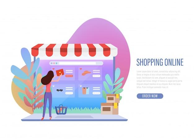 Shopping online banner web landing page.