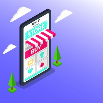 Покупки онлайн. большой смартфон цифрового маркетинга и электронной коммерции