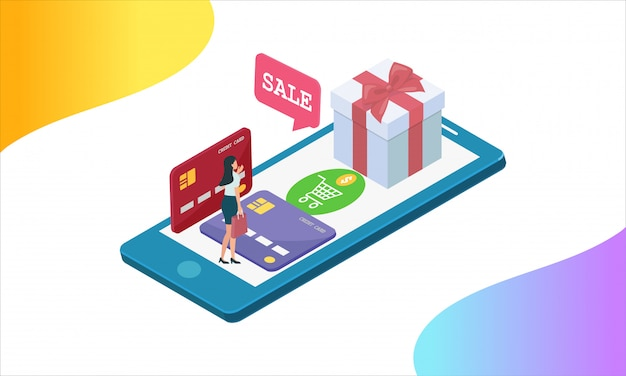 Shopping online by cash and credit card