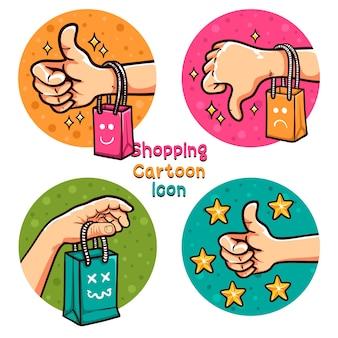 쇼핑 온라인 만화 아이콘 설정 그림