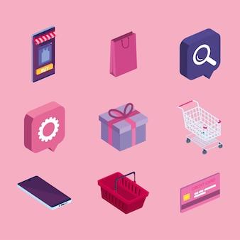 Shopping online clipart set
