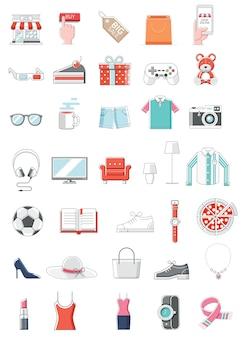 ショッピングオンラインカラーアイコン細い線スタイルのイラスト
