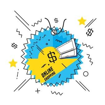 ショッピングオンライン商業タグベクトルイラストデザイン