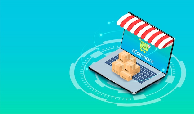 Shopping online on computer laptop with e-commerce system. isometric flat design