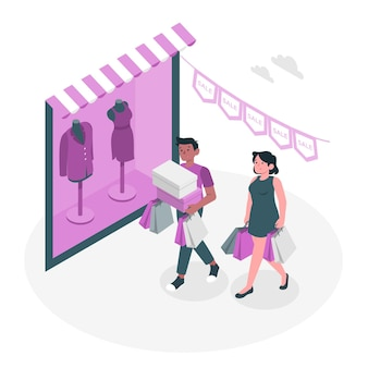 Shopping not online concept illustration