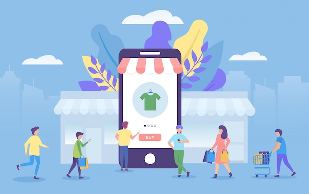 Shopping online concept in mobile application  illustration for marketing.