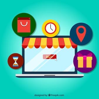 Покупки онлайн концепция