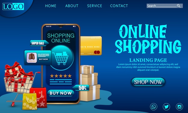 Shopping online design concept on mobile application with gifts