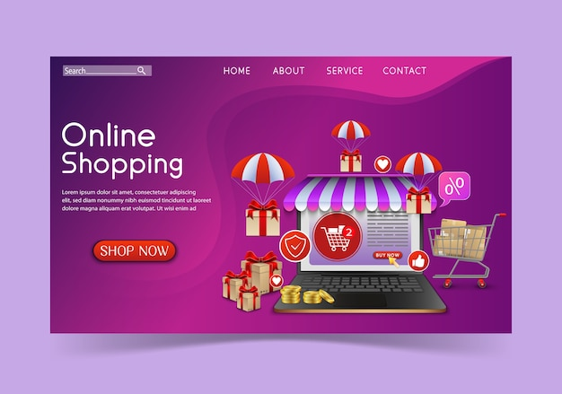 Shopping online design concept with laptop and gifts