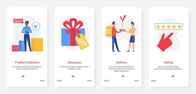 온라인 쇼핑, 할인 판매, 주문 및 배송 모바일 앱 화면 세트 프리미엄 벡터