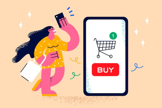 Shopping online and electronic payment concept. young smiling woman cartoon character standing with huge smartphone screen with shopping cart online and holding credit card vector illustration