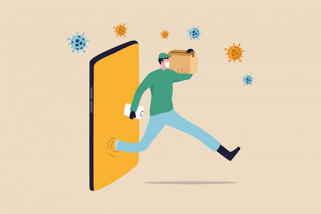 Shopping online and fast shipping while self quarantine in social distancing coronavirus covid-19 outbreak concept, agile delivery man run from smart phone shopping website ship package to customer