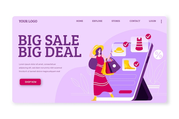 Shopping online flat design landing page template