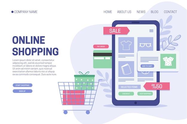 Shopping online flat design landing page