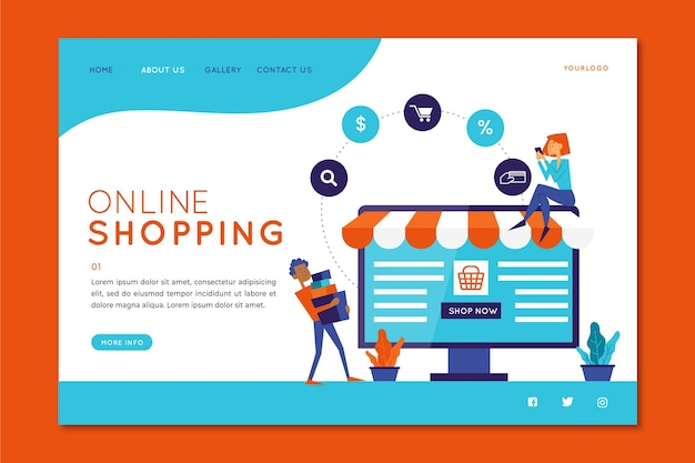 Shopping online flat design template landing page