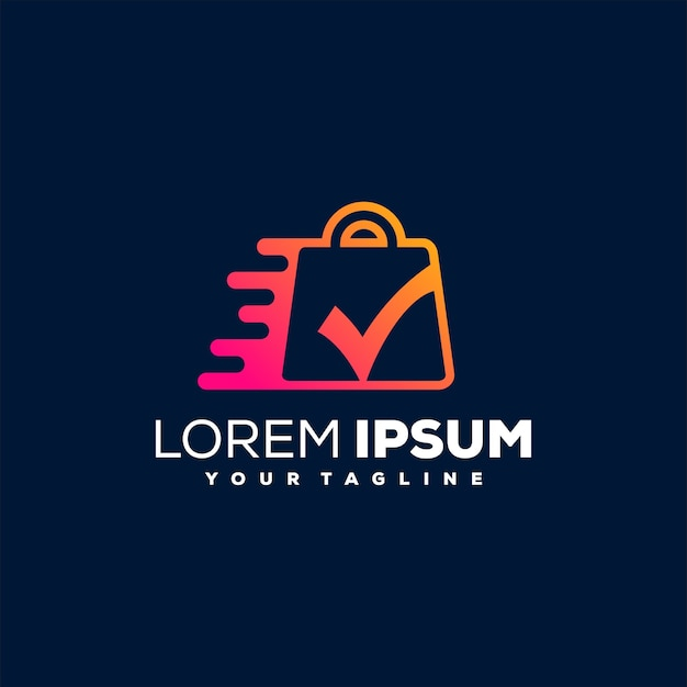 Shopping online gradient logo design