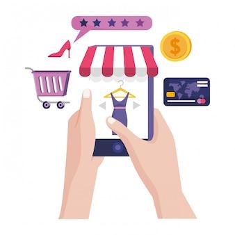 Shopping online icon illustration