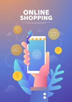 Shopping online illustration poster