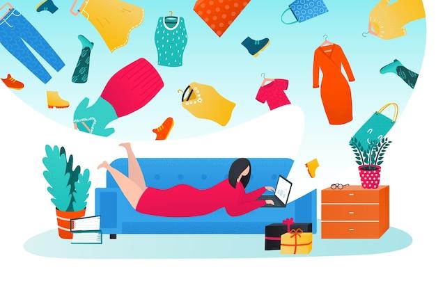 Shopping online in internet illustration
