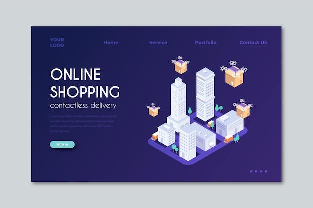 Покупки онлайн изометрической целевой страницы шаблона Бесплатные векторы