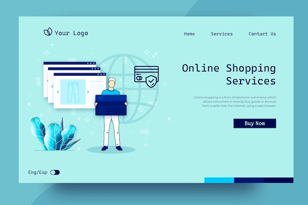 Shopping online landing page concept
