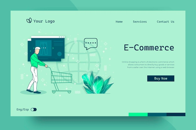 Shopping online landing page concetto